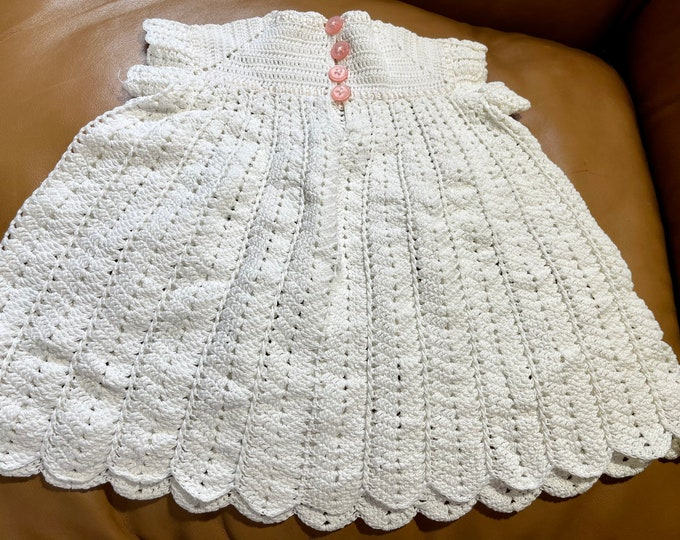 Victorian Baby Dress, Girl's Baptism Dress, Vintage Handmade Crocheted Infant Dress