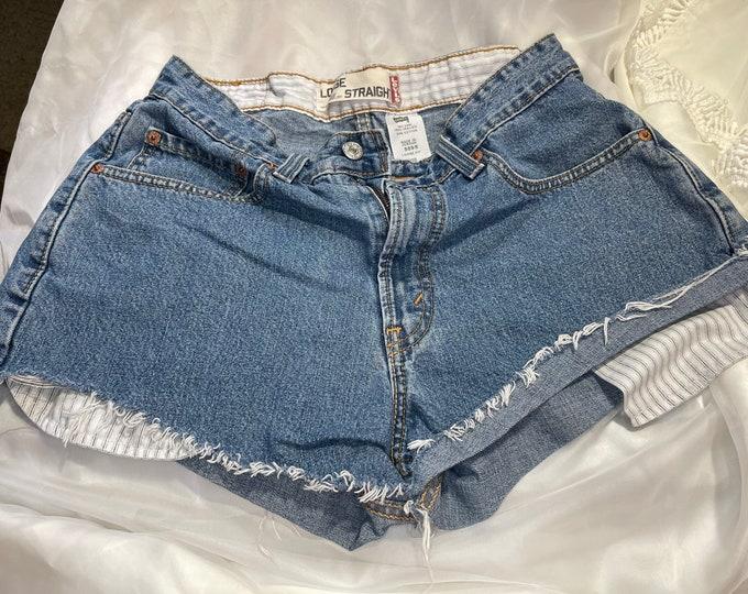 Levi's Jean Shorts, Blue Denim Cut Off Shorts, boho summer shorts