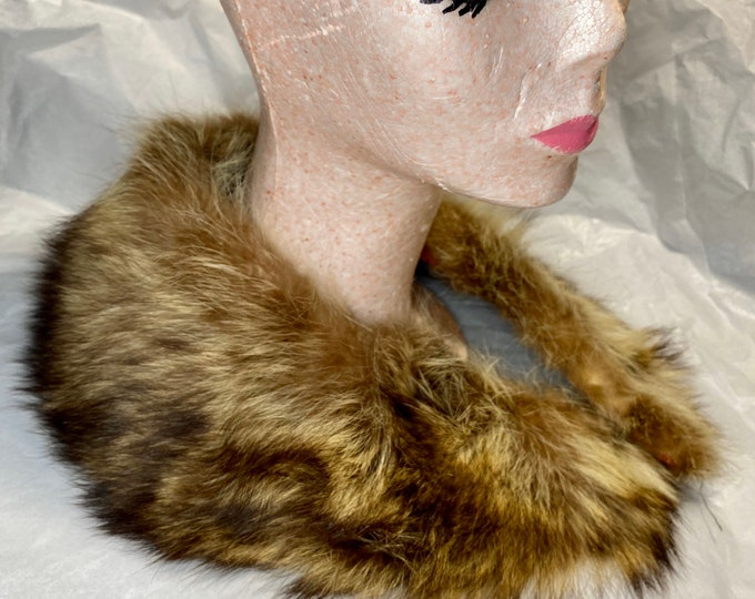 Fur vintage collar, soft retro fur scarf, mid century fur collar