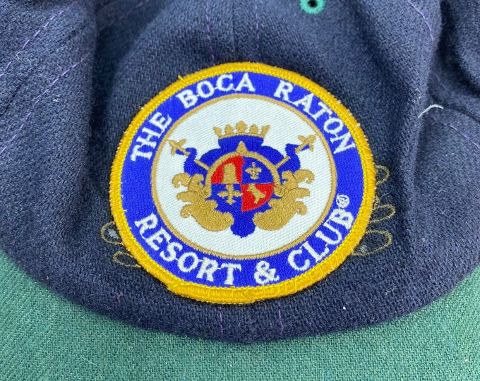 Wool Preppy Hat, Boca Raton Resort Cap, Leather Adjustable Strap Closure
