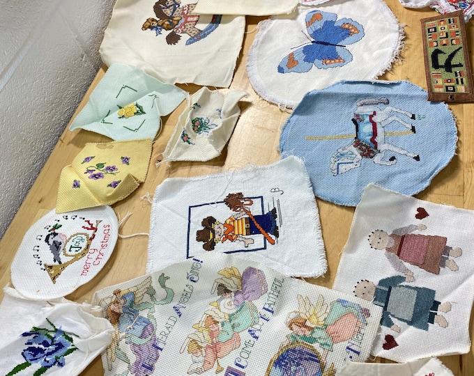 Craft project supplies, Cross stitch appliqués lot, Hand stitched patches