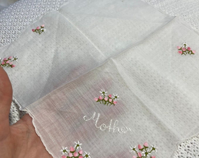 Mother Embroidered Handkerchief, Mid Century Hanky, Mother Accesory