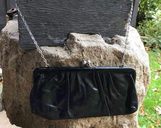 Black Leather Evening Handbag, Vintage Cocktail Bag, Formal Fashion Purse