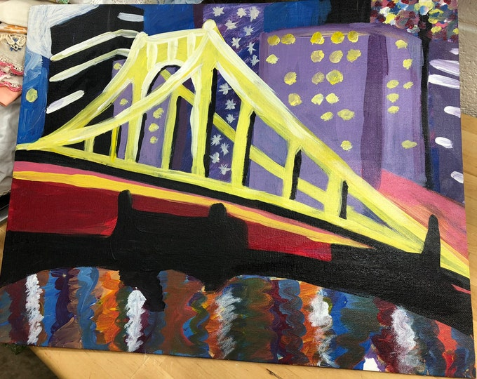 Pittsburgh City Bridge Painting, Pittsburgh River at Night, Steel City Hand Painted Picture