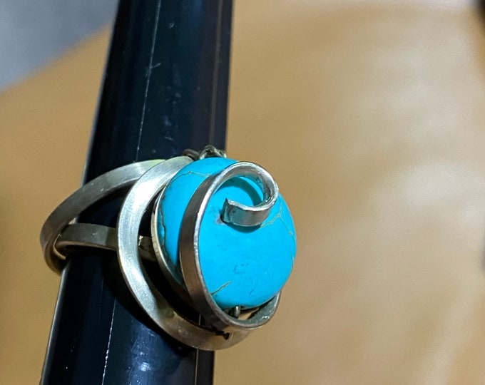 Turquoise Silver toned statement ring, swirl sky blue artist ring