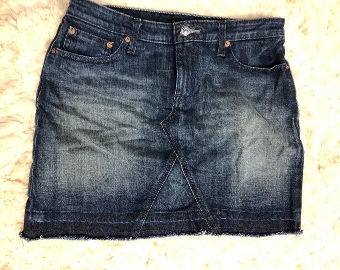 Fringed Jean Mini Skirt, Up Cycled Denim Skirt, Distressed Blue Jean Skirt
