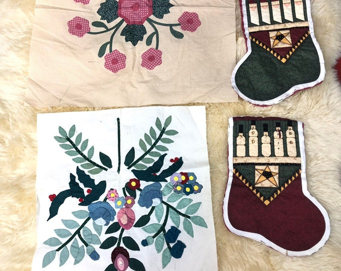 Appliqué Flower Cushion Fronts, pre Finished fabric projects, Pillow Fronts for sewing project, Christmas Stocking Fabric Pieces