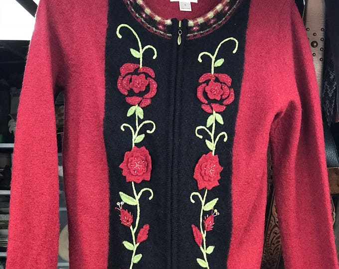 Christmas sweater, Red Holiday Women's cardigan