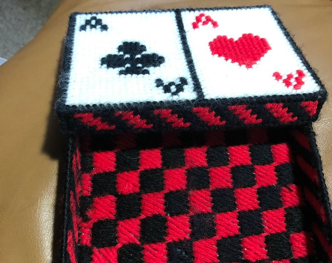 Red and Black Playing Card Holder, Handmade Case for Decks Of Cards - Red and Black Game Room Decor