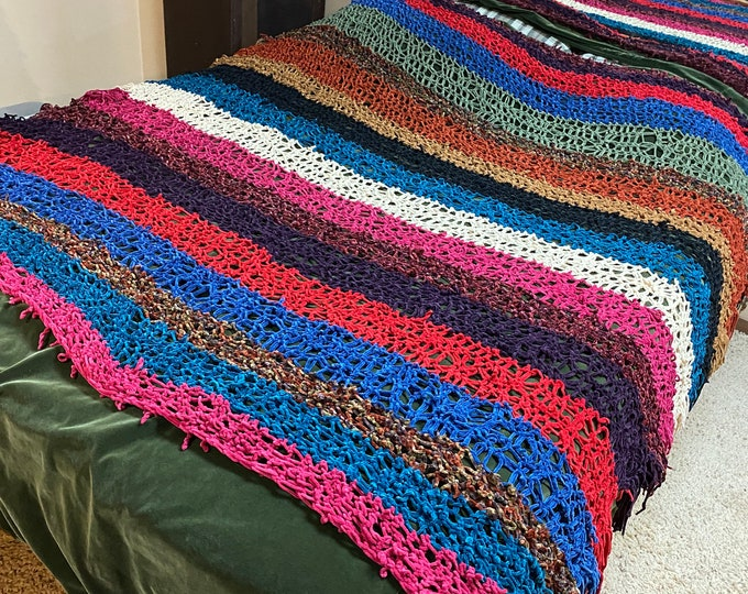 handmade soft striped blanket, Chenille afghan, colorful striped bedspread throw