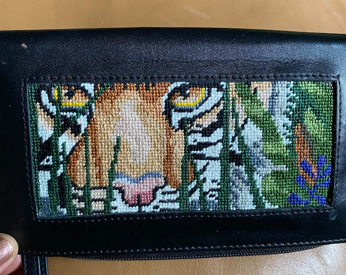Tiger Black Leather Wallet, hand stitched clutch purse