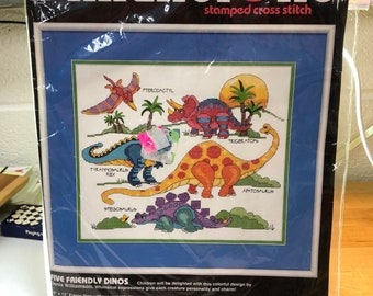 Dinosaurs - cross stitch kit - child's room decor - baby shower gift