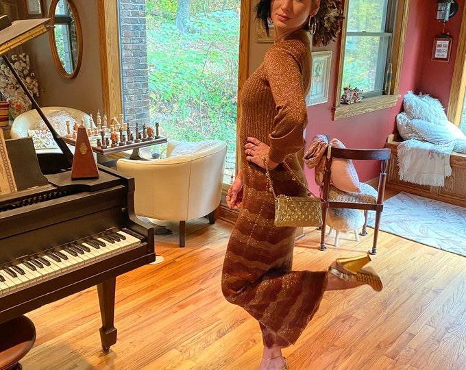 Gold Party Dress, Vintage Sparkle Formal Holiday Dress, Metallic Shiny Dress