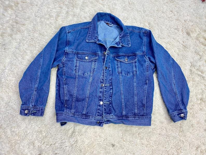 Blue Denim Jean Jacket Unisex Mens Coat All Season Jacket image 1