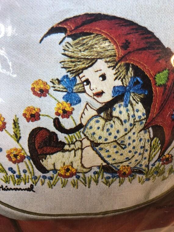 Hummel Crewel Needlework kit vintage needlepoint handbag girl with umbrella