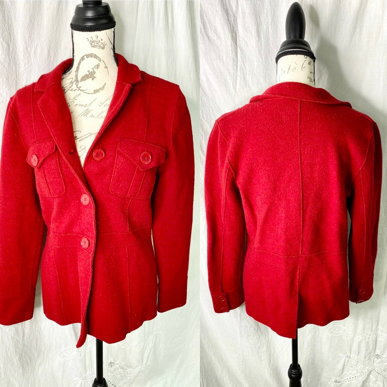 Red Womens Jacket Red Wool Coat Christmas Fashion image 0