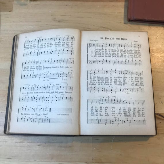 Antique German music book - collectible song book - old vintage sing along  songs