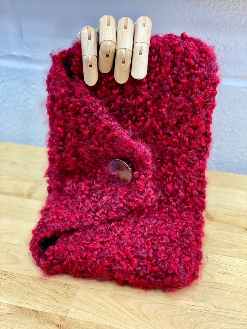 Red Clutch handbag Knit Bohemian Purse Handmade Lined Bag image 0