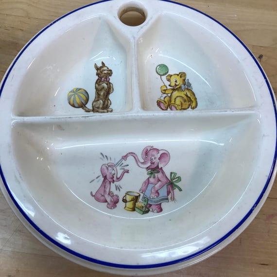 Plat 3 sectionnelle childs vintage éléphants ours chiot chien et le réchauffement