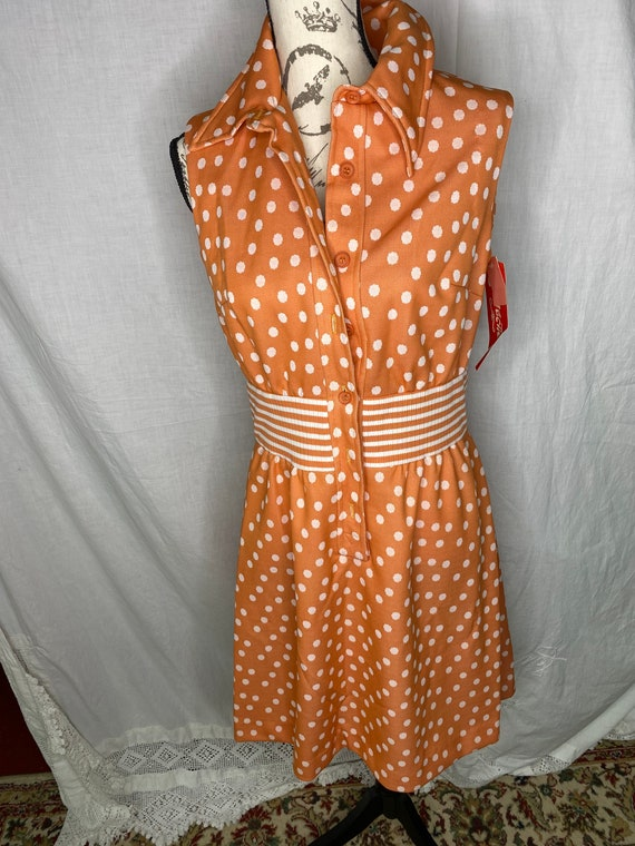 Orange Polka Dot Vintage Dress, Retro Fashion shea