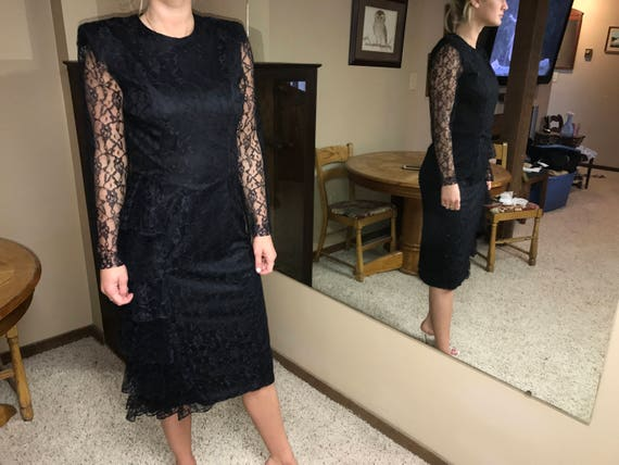 Black Lace Dress, Formal Vintage Fashion, Black Ti