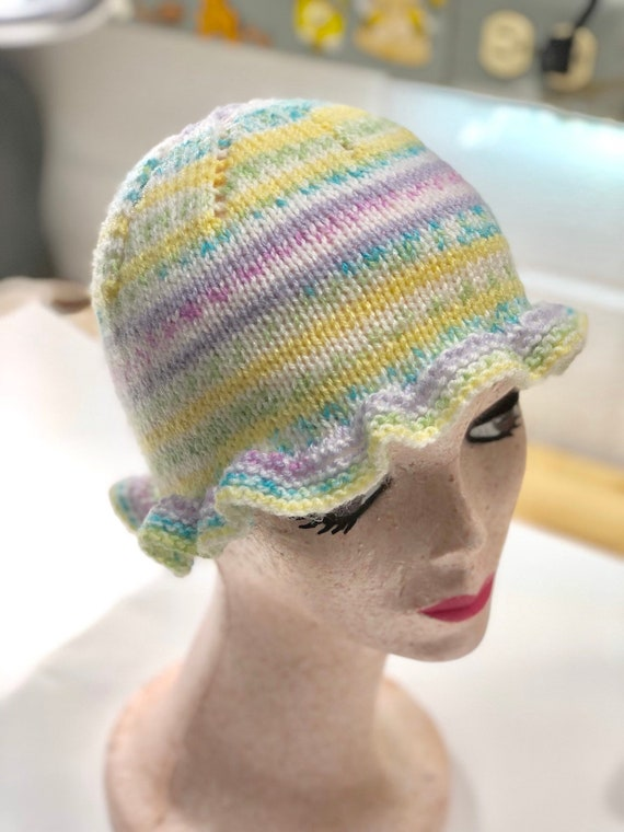 Hand Knit Children's Winter Hat - Pastel Colored B
