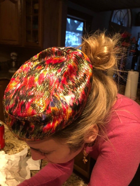 Gold Lame Pillbox Hat, Vintage Women's Hat, Psyche
