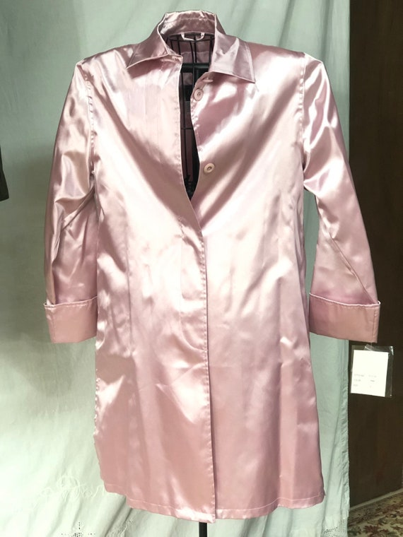 Pink Women's Spring Coat, Shiny Dusty Rose Trench