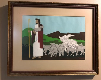 Jesus and his flock of sheep painting
