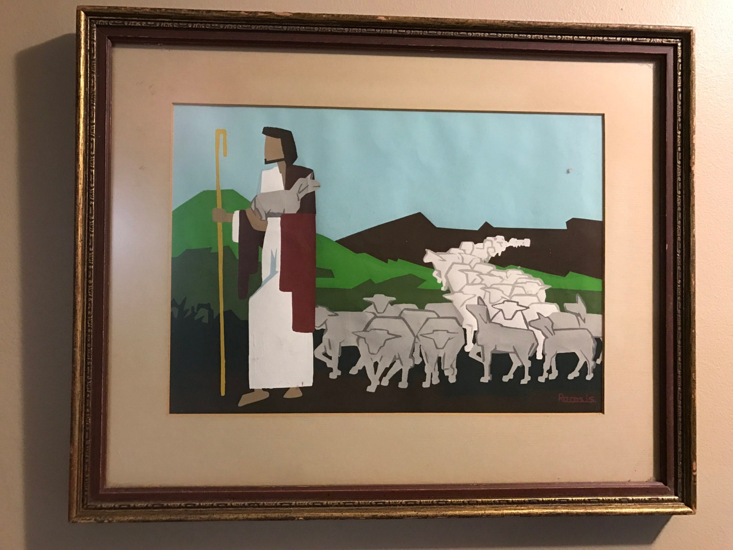 Jesus And His Flock Of Sheep Painting Religious Housewarming Gift