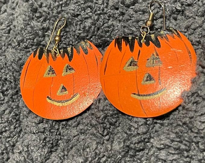 Halloween Earrings, Pumpkin Dangle Earrings, Jack O Lantern Jewelry,