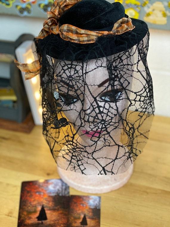 Halloween Hat, Black Fascinator Spider Web Veil