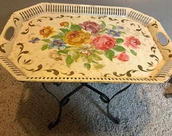 Tole Painted vintage Studil tray table stand