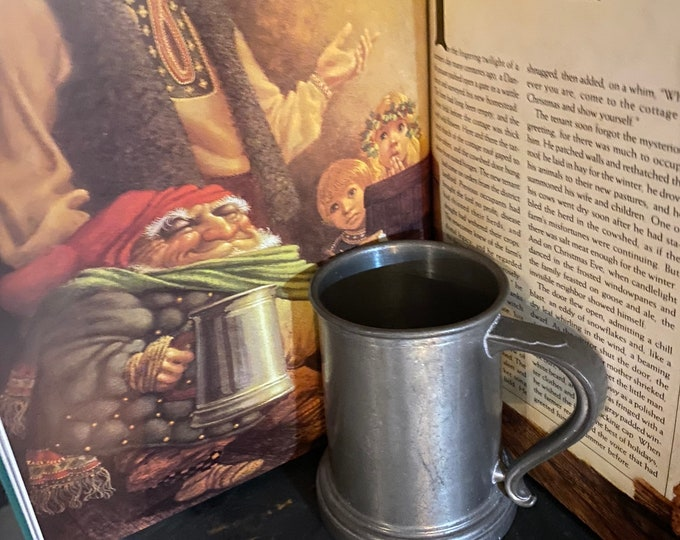 Metal Pewter Vintage Mug, monogrammed pewter cup with glass bottom, Octoberfest Stein