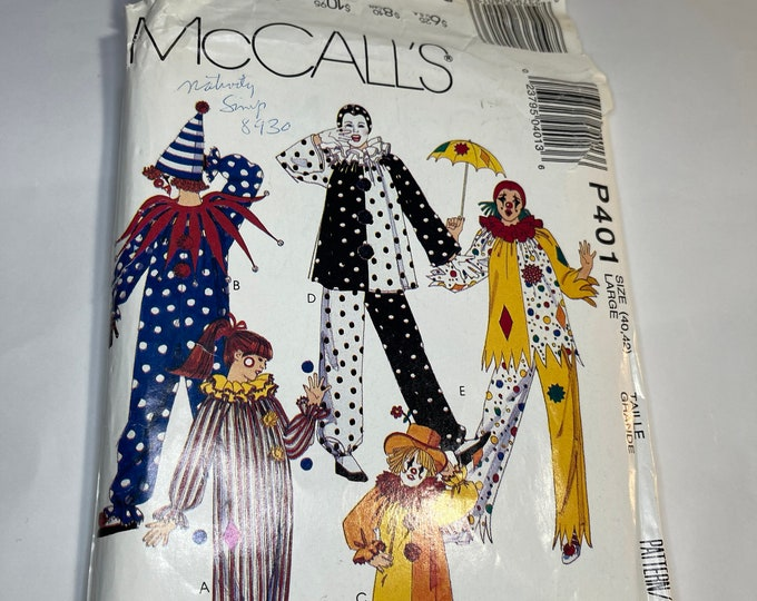 Clown Sewing Pattern, Adult Halloween Costume Instructions, McCall's Vintage Pattern