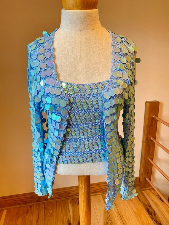 Sky blue sequins jacket set, summer beach sparkle