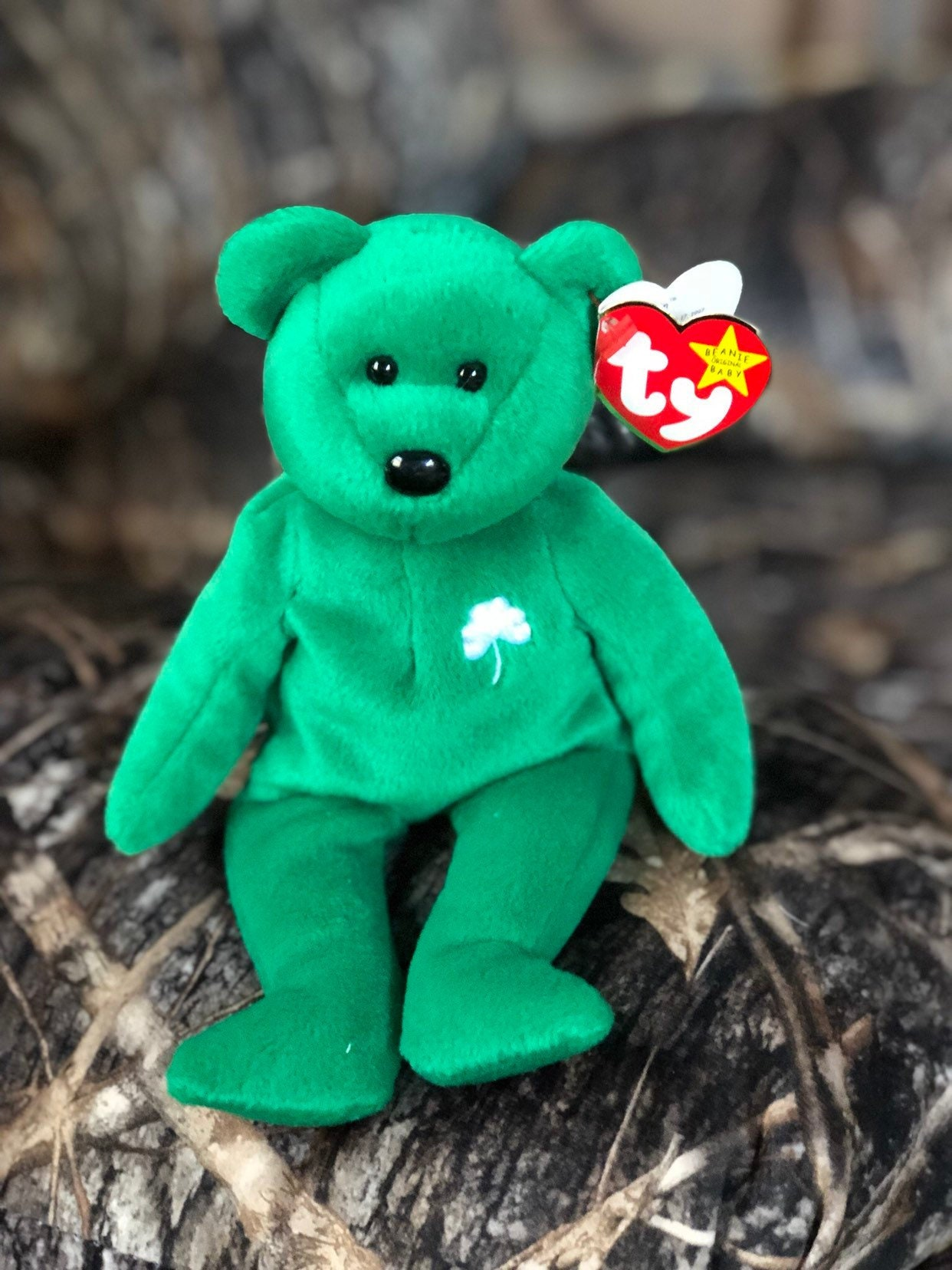 bbdbde95eaf Shamrock Beanie Baby Bear - Green St. Patrick s Day Irish Decoration