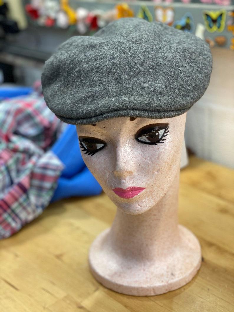 Gray Wool Newsboy Hat Vintage Kangol Cap Unisex Fashion image 0