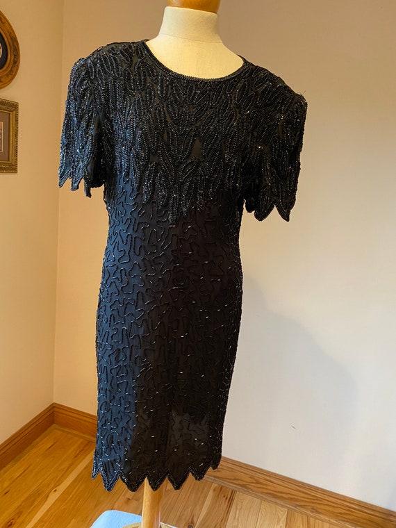 Black funeral dress, vintage formal party dress, l