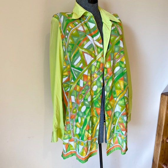 Chartreuse Silk Blouse, Geometric Print Summer Shi