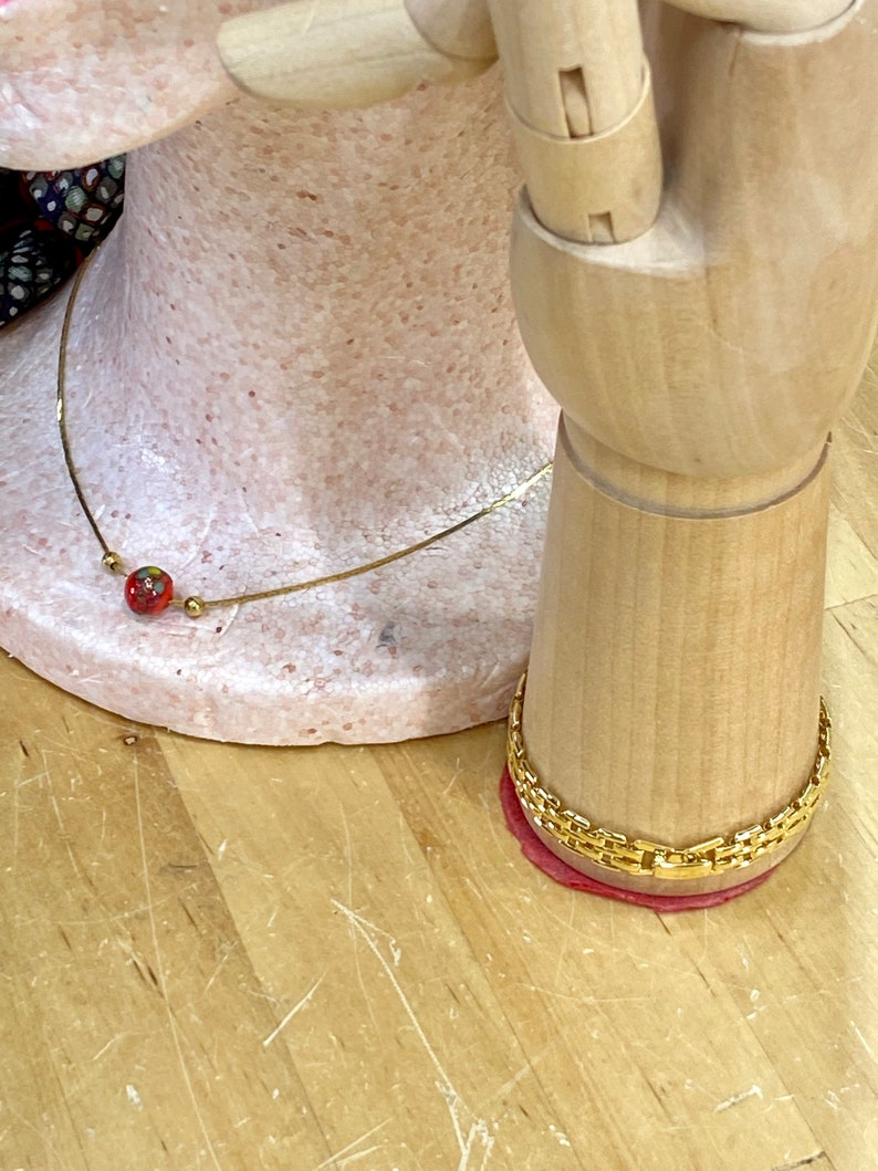 Red Glass Bead Necklace and Gold Toned Link Bracelet Costume image 1