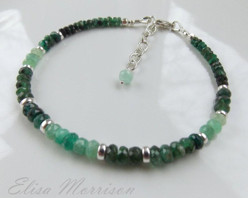 Genuine natural Zambian EMERALD faceted rondelle gem stone sterling silver bracelet