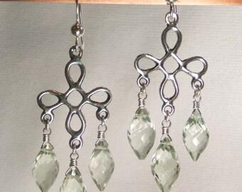 GREEN AMETHYST PRASIOLITE faceted gem stone dewdrop briolette sterling silver chandelier earrings