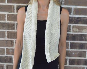 Crochet Honeycomb Scarf // Tunisian Crochet // Linen Color