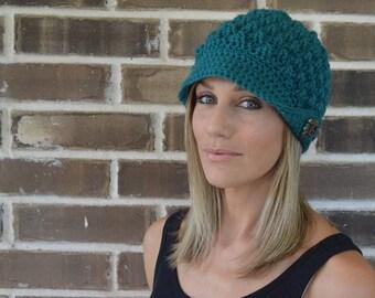 Crochet Traveler Hat // Adult Size // Beanie with Brim // Octopus