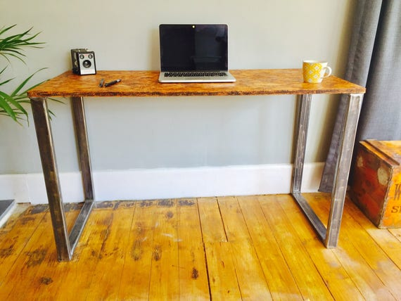 Osb idustrial desk with box steel pedestal legs etsy