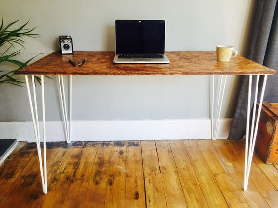 Osb industrial desk with white steel hairpin legs etsy