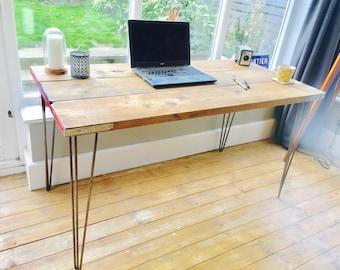 Reclaimed wood desk industrial desk scaffold desk