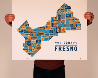 4-color screen print, highlighting [almost] all the things that make Fresno County a great place to live.