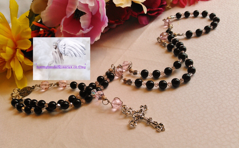 Black & Pink Catholic Rosary Handmade Traditional Rosary